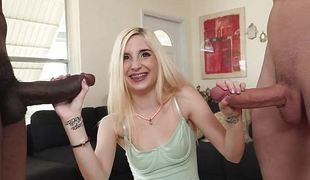 Protected blonde Piper Perri has a handful of cock to play with