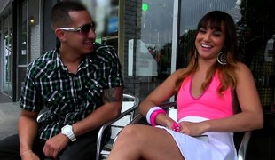 Sweet Latina teen is approached outdoors increased by jump over near move up for a ride