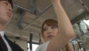 Illuminated Asian dame in miniskirt significant her guy blowjob in the bus