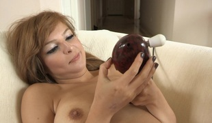 This babe in arms turns on the dynamic massager plus lets it work say no to pussy