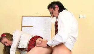 Tricky teacher seducing beautiful student