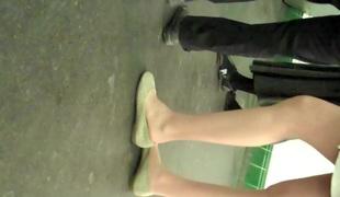 Candidly Teen Students Pantyhose Legs and Legs Shoeplay