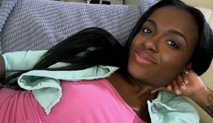 Enchanting 18 year old ebony slit