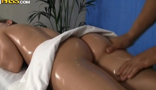 Russian playgirl Penny acquires shagged on the massage table