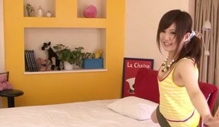 Most excellent Japanese model Miku Airi in Lascivious JAV censored Miniature Tits, Blowjob movie scene