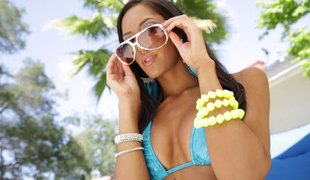 He films this Latina hottie POV style in the long run b for a long time gender her
