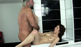 Brigitta has him drilling her snatch deep with an increment of welcomes his cum in her mouth