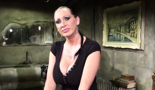 Busty night-time dust-ball has some fun getting her dungeon ready