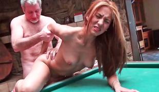 Dark brown is having some hawt sex on the pool table here
