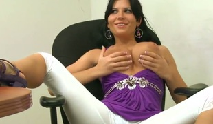 Showing off their way perfect curves to anyone who craves to see them, Rebeca Linares strips without their way hawt gear and shows off their way cute bra and panties as she touches herself.