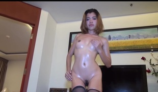 Neverseen Scene Thai Non-professional Lek Fucks In Race Queen Outfit The Gets Oiled Up And Fucked On Furniture By Large Cock