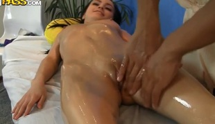 Pretty erotic massage and hot anal fuck after that