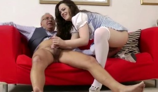 Glamorous brunette fucked right into an asshole by grand-dad