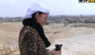 Glamorous Aurita engulfing outdoors in Egypt