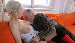 Amateur pretty good pussy licked by an old fart and screwed hardcore