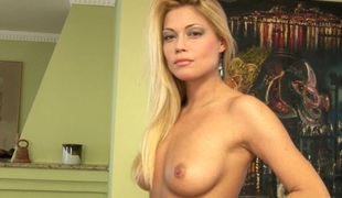 Hot bitch there golden-haired long hair masturbating on rueful daybed