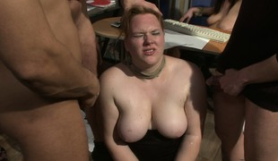Breasty chubby bitches succeed in abused added to bleeding with loads be fitting of jizz