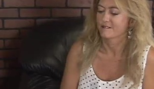 Golden-haired chubby MILF rides cock and gets her face gap drilled
