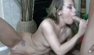 Haley Pleasing tickles penis alongside tonsils added to swallows
