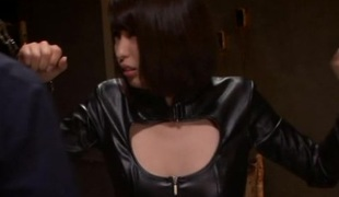 Leather-clad Asian chick with beautiful natural soul enjoying a hardcore gangbang