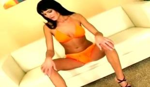 Transparent ass brunette MILF toys with anus