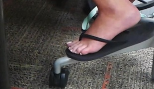Candid College Feet in be transferred to Library Flip Flops