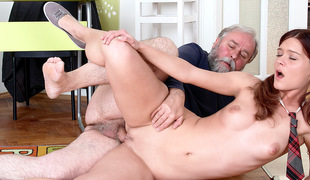 TrickyOldTeacher - Old teacher bonks his sexy College student right in the classroom