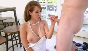 A hawt chick with sizable tits is jumping on top of a hard ramrod