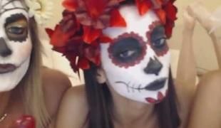 3 girls have a Lewd Halloween