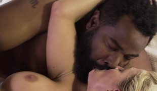 Vehement interracial porn with large darksome man and white lass