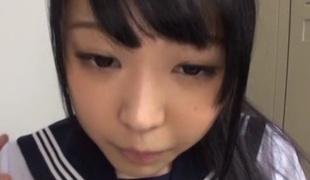 Adorable Oriental teen in school uniform acquires cornered after class
