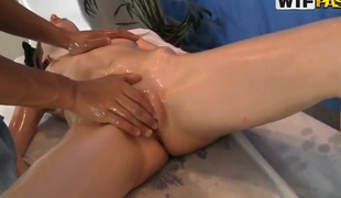 Black man makes a hot massage for exotic angel Nene