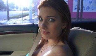 Redhead with massive tits unclouded in a strangers car
