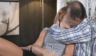 Legal age teenager redhead got creampie by older dude