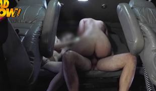 Two sexy girls acquire their raiment off in the van and they fuck hard