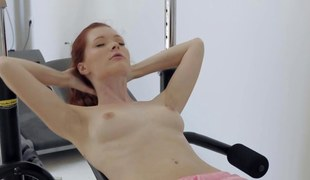 solo session with a miniature knocker redhead slut