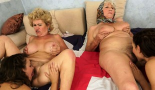 An orgy of pussy with old and juvenile lesbian babes munching be transferred to rug