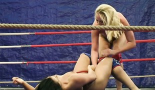 Backstage look at a pair of smokin' hot strumpets wrestling stripped