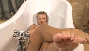 Large tittied increased by so girl is touching vagina tenderly