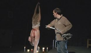 Charges tied instigating blonde is released to give blowjob