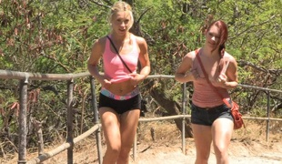 Lesbian sluts on the jogging creep giving a caress with the addition of fondling