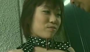 Asian nympho in dress gets seduced at greens