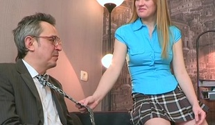 TrickyOldTeacher - Horny gracious student rides aged teacher and drilled doggestyle