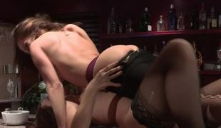 Two women with sexy bodies are doing muff licking on the bar