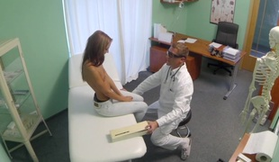 Spying on sexy youthful sweetheart having particular treatment from the doctor pov creampie