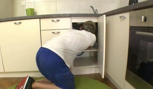 Repair panhandler licks a redhead teens tits and gets laid