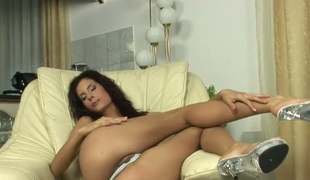 Leanna Sweet with go out of business tits and clean cunt groans painless she dildos their way fuck hole