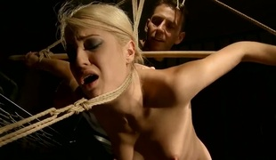 Blonde receives the brush throat drilled good with an increment of hard