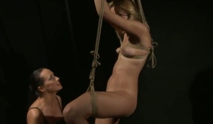 Blonde Mandy Bright upon enormous hooters gets wildy tongue fucked wide of To the rear